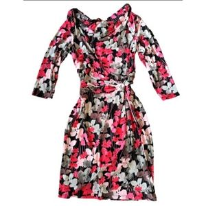 TanJay dress Floral Jersey faux Wrap Dress sz 10
